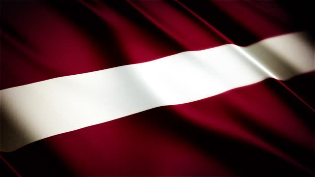 Latvia realistic national flag seamless looped waving animation video
