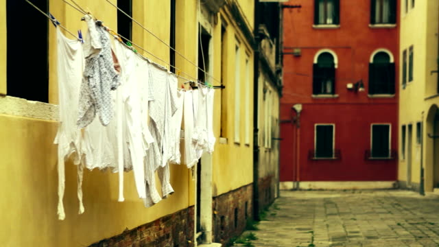 Laundry drying in the street in Venice video