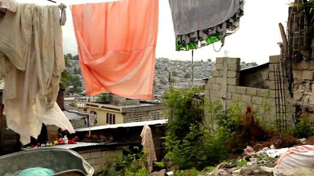 Laundry hanging over Port au Prince, Haiti. video