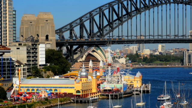Lavender Bay, Sydney Harbor Bridge, Luna Park, North Sydney and Sydney Opera House (4K/UHD to HD) video