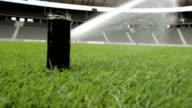 lawn sprinkler erecting on football field in stadium video