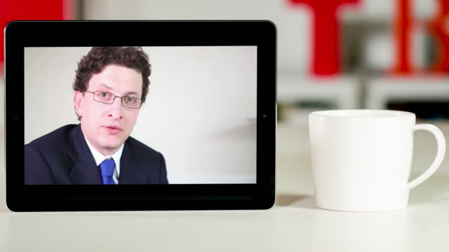 Lawyer consultation on digital tablet video