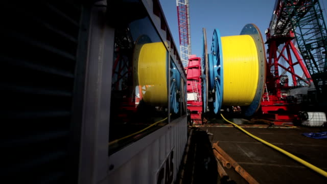 Laying of underwater optical cable on sea bottom video