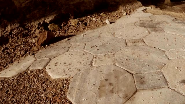 Layings of marble tiles on floor  ruins of antique town Salamis east Cyprus Famagusta video