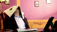 Lazy worker sleeping at workplace, tired, dreaming of vacation video