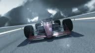 Leader F1 Racing Car On Rainy Day video