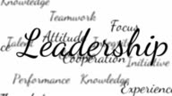 Leadership words background loop with matte video