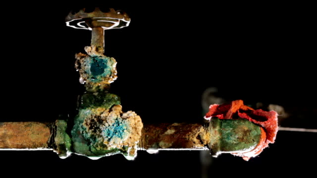 Leaky, old water pipe and valve video
