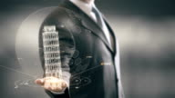Leaning Tower of Pisa Businessman holding in Hand Landmark New technologies video