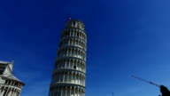Leaning Tower of Pisa, Italy. Blue sky video