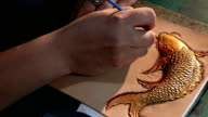 leatherworker paint  fish pattern on leather video