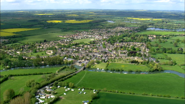 Lechlade  - Aerial View - England,  Gloucestershire,  Cotswold District,  United Kingdom video