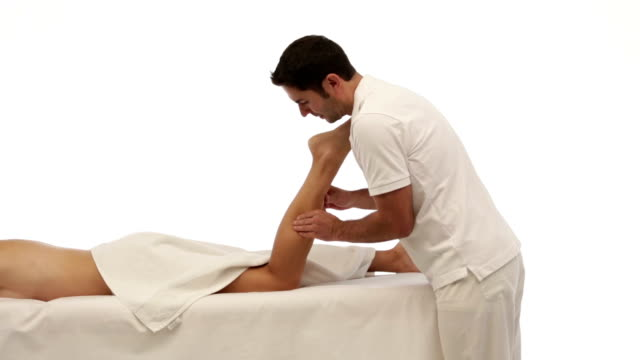 leg massage on white video