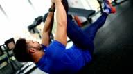 Leg raises at the gym. video