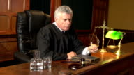 Legal Judge thinking in Court (Courthouse)- Two Shots video