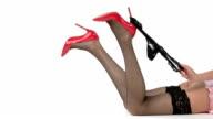 Legs in stockings and heels. video