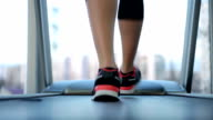 Legs of sportive woman walking and running on treadmill, healthy video