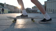 Legs riding on skateboard. video