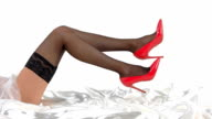Legs wearing stockings and heels. video