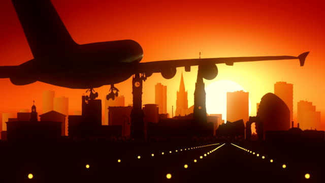 Leicester Airplane Landing Golden Sunset video