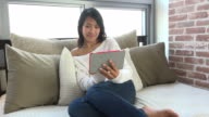 Leisure With Asian Girl Woman Using Ipad Digital Tablet video