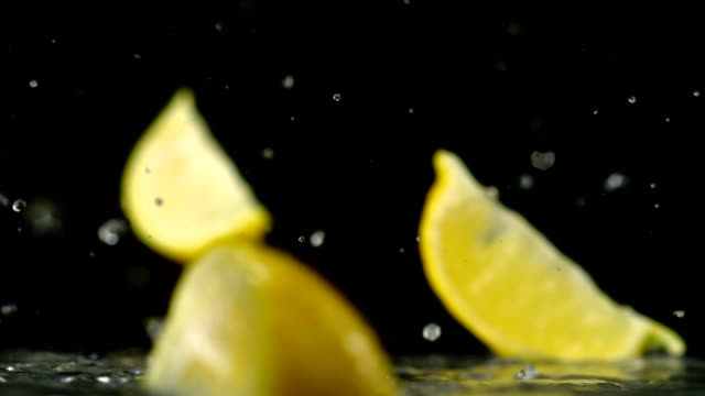 Lemon and water splash, Slow Motion video