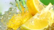 Lemon and water splash, Slow Motion video