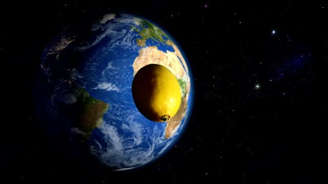 Lemon orbiting the Earth video
