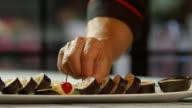 Lemon slice beside sushi rolls. video