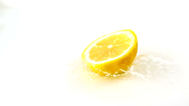 Lemon slices falling into water video