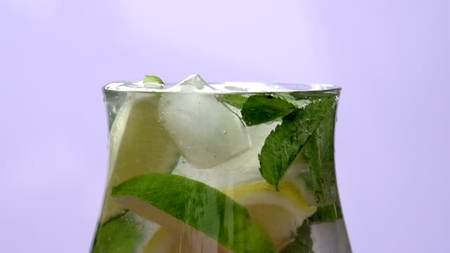 Lemonade and Ice Cubes Close-up video