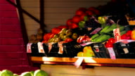 Lemons, Tomatoes, Oranges, Pomegranates, Kale, Grapes With Labels in Russian Are on Display in Outdoor Grocery Stall video