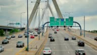 Leonard P. Zakim Bunker Hill Bridge Traffic Establishing Shot video