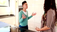 Lesbian couple having an argument in the kitchen video