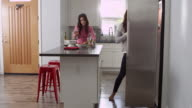 Lesbian couple preparing meal together at home, full length, shot on R3D video