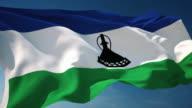 4K Lesotho Flag - Loopable video