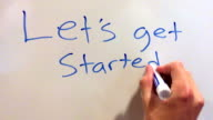 Let's get started written out on whiteboard video