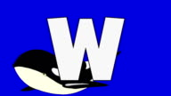 Letter W and  Whale  (background) video
