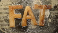 FAT letters fry in oil in a grill - boils (top view) video