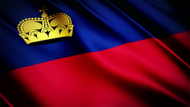 Liechtenstein realistic national flag seamless looped waving animation video