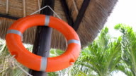 life belt hanging on wood pole video