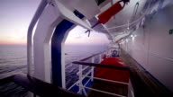 Lifeboats of cruise ship in the morning video