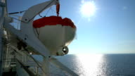 Lifeboats on Board a large sea ferry. video
