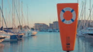 Lifebuoy on the harbor bank. video
