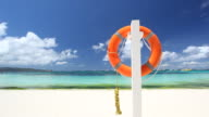Lifebuoy ring on tropical beach video