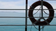 Lifebuoy with the sea background. video