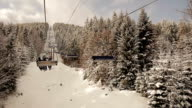 Lift in a snowy forest. video