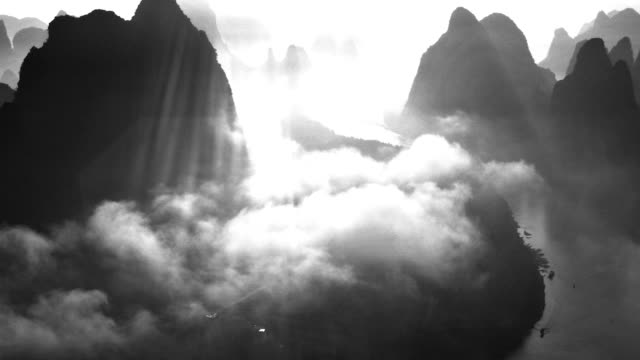 Light and shadow of li river in the morning video