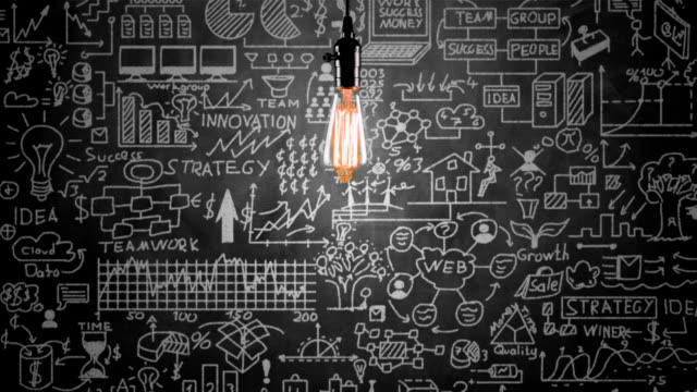 Light bulb and business strategy concept on blackboard video