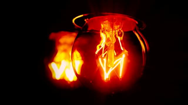 Light bulb flickering, blurry reflection video